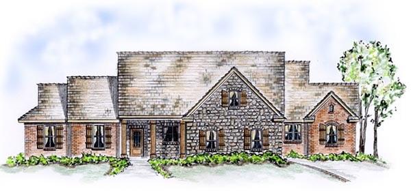 European Traditional House Plan 56529 Elevation