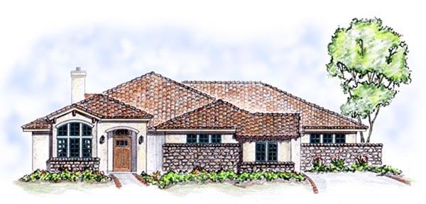 Florida, Mediterranean, One-Story House Plan 56537 with 3 Beds, 2 Baths, 3 Car Garage Elevation