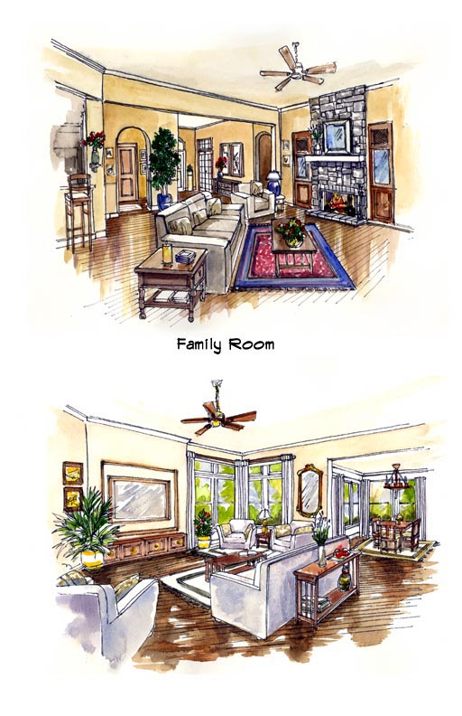 Florida, Mediterranean, One-Story House Plan 56537 with 3 Beds, 2 Baths, 3 Car Garage Picture 3