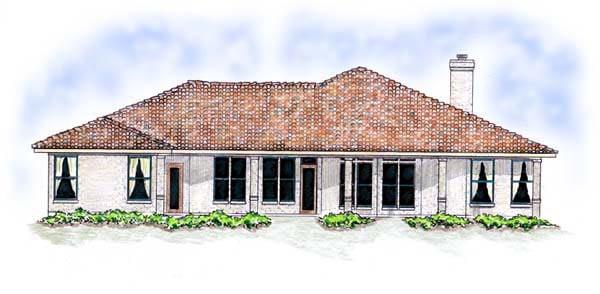 Florida, Mediterranean, One-Story House Plan 56537 with 3 Beds, 2 Baths, 3 Car Garage Rear Elevation