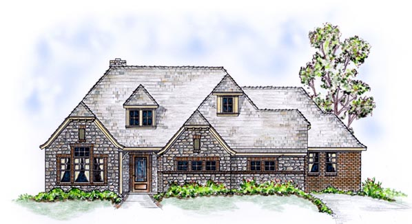 European House Plan 56538 Elevation