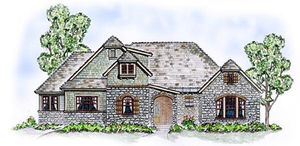 Craftsman, European House Plan 56542 with 4 Beds, 4 Baths, 2 Car Garage Elevation