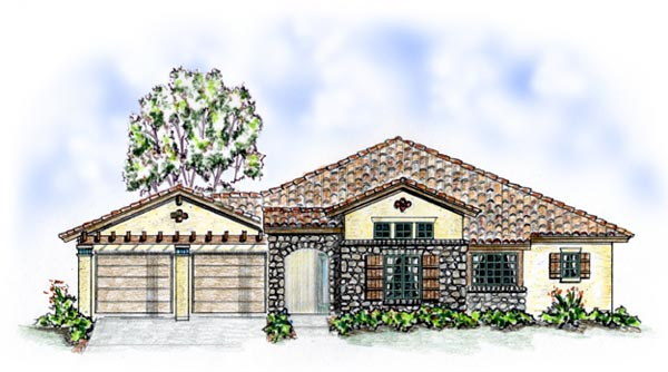 Florida, Mediterranean, One-Story, Southern House Plan 56544 with 3 Beds, 3 Baths, 2 Car Garage Elevation