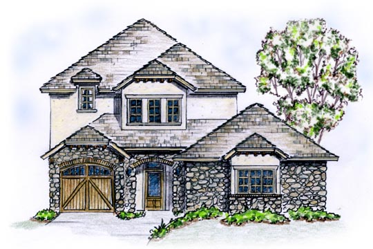 European House Plan 56545 Elevation