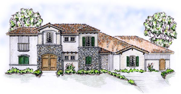Elevation of Florida   Mediterranean   House Plan 56549