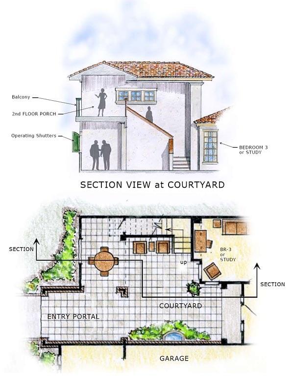 Florida, Mediterranean House Plan 56549 with 4 Beds, 4 Baths, 3 Car Garage Picture 1
