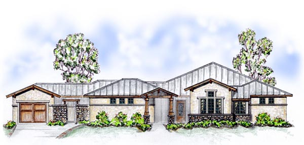 Elevation of Bungalow   Craftsman   House Plan 56550