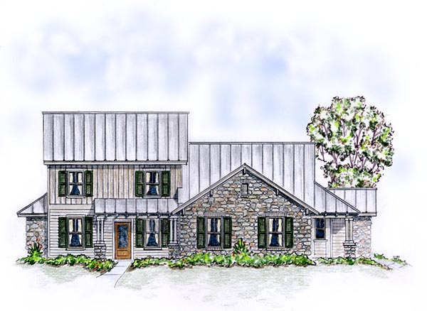 Country Craftsman Farmhouse Multi-Family Plan 56562 Elevation