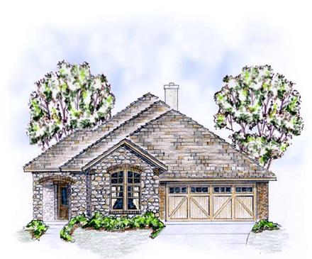 European Ranch Traditional Elevation of Plan 56565