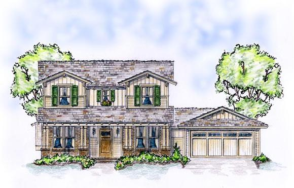 Craftsman, European, Tudor House Plan 56573 with 4 Beds, 3 Baths, 2 Car Garage Elevation