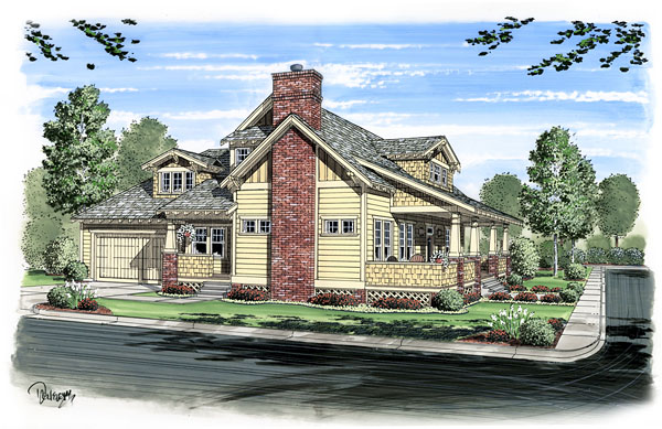 Bungalow, Cabin, Cottage, Craftsman House Plan 56574 with 3 Beds, 3 Baths, 2 Car Garage Elevation