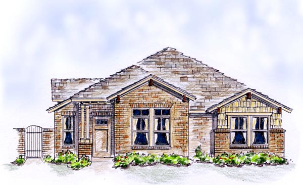 Elevation of Bungalow   Country   European   Farmhouse  Traditional   House Plan 56575