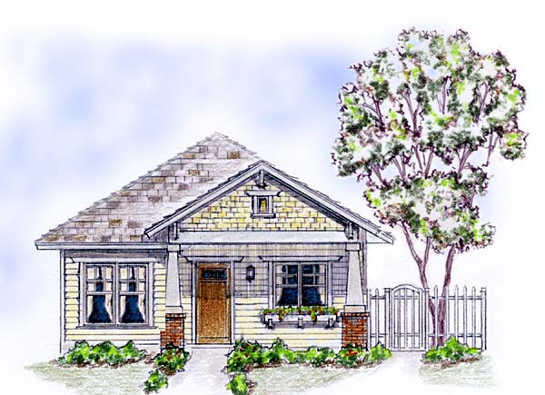 Cottage Craftsman House Plan 56578 Elevation