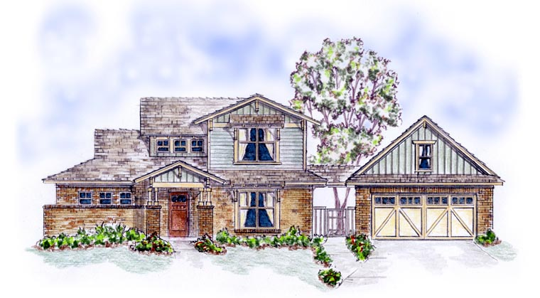 Bungalow, Craftsman House Plan 56579 with 3 Beds, 4 Baths, 2 Car Garage Elevation