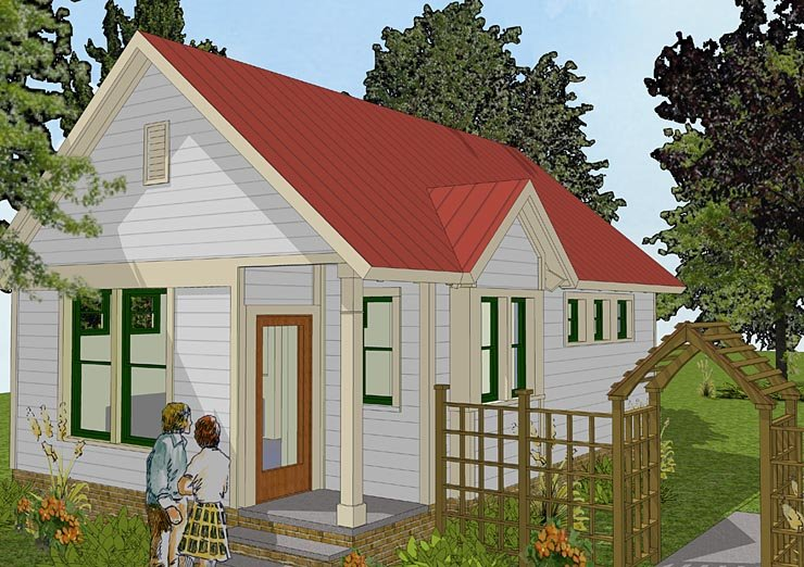 Bungalow Cabin Cottage Traditional House Plan 56581 Elevation