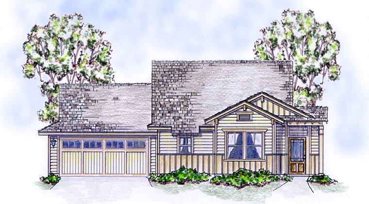 Elevation of Bungalow   Cottage   Craftsman   House Plan 56582