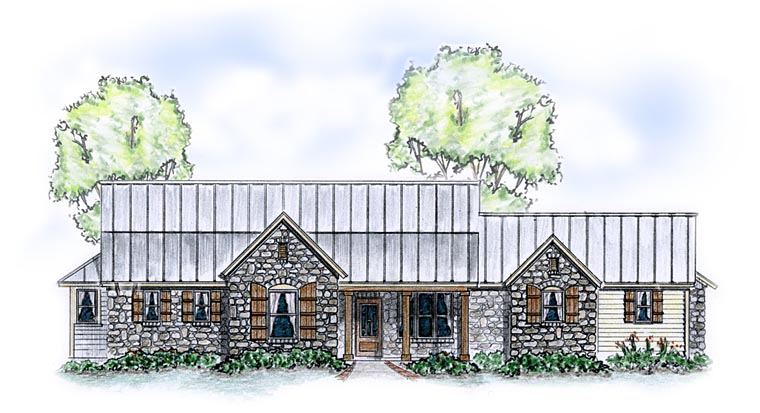 Country Farmhouse Traditional House Plan 56585 Elevation