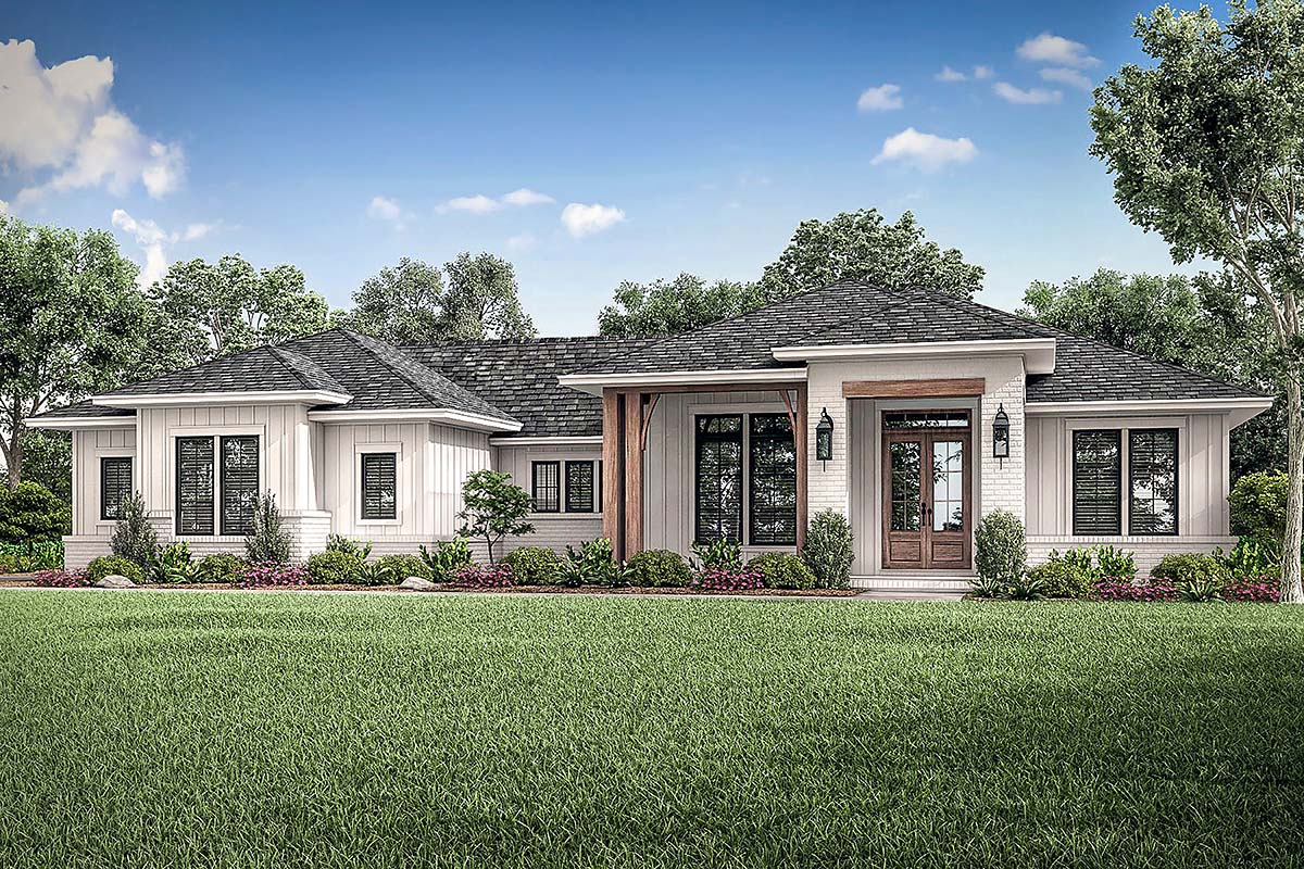 Ranch Style House Plan 56706 with 3 Bed, 3 Bath, 2 Car Garage on
