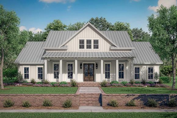 Country, Farmhouse, One-Story, Traditional House Plan 56710 with 4 Beds, 3 Baths, 2 Car Garage Elevation