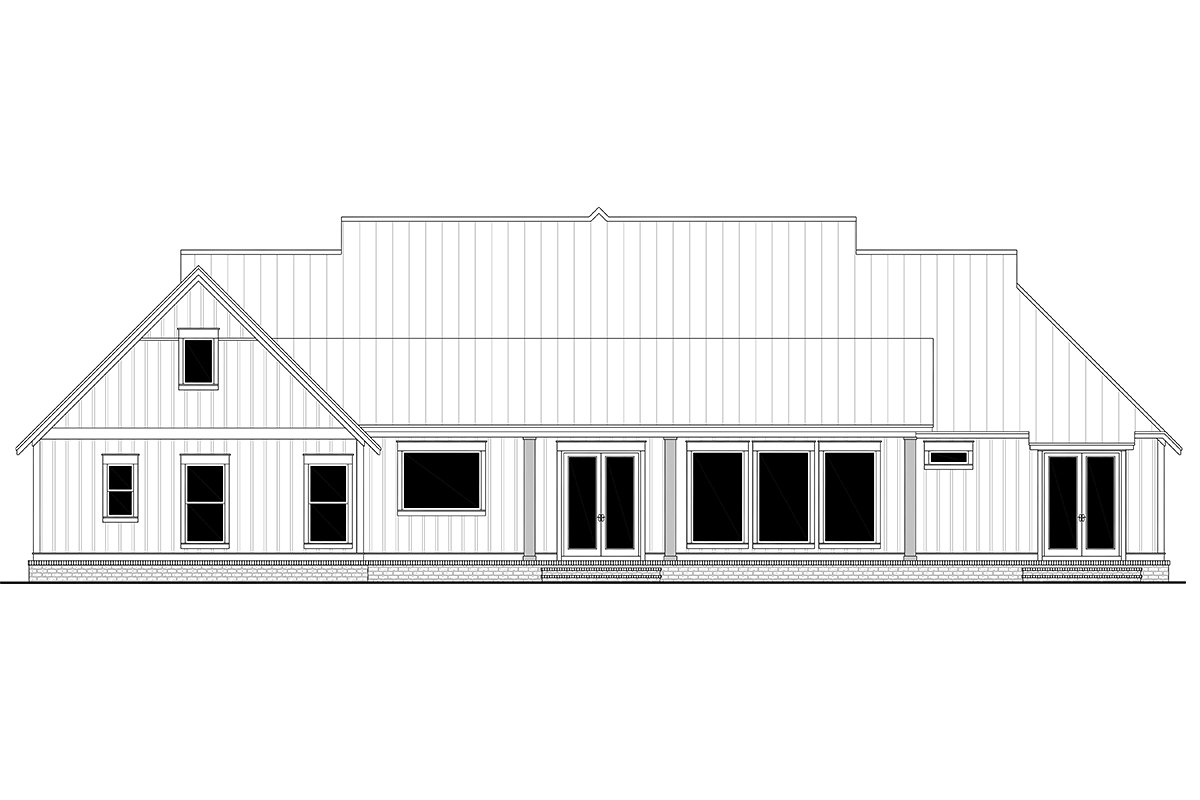 Country Farmhouse One-Story Traditional Rear Elevation of Plan 56716