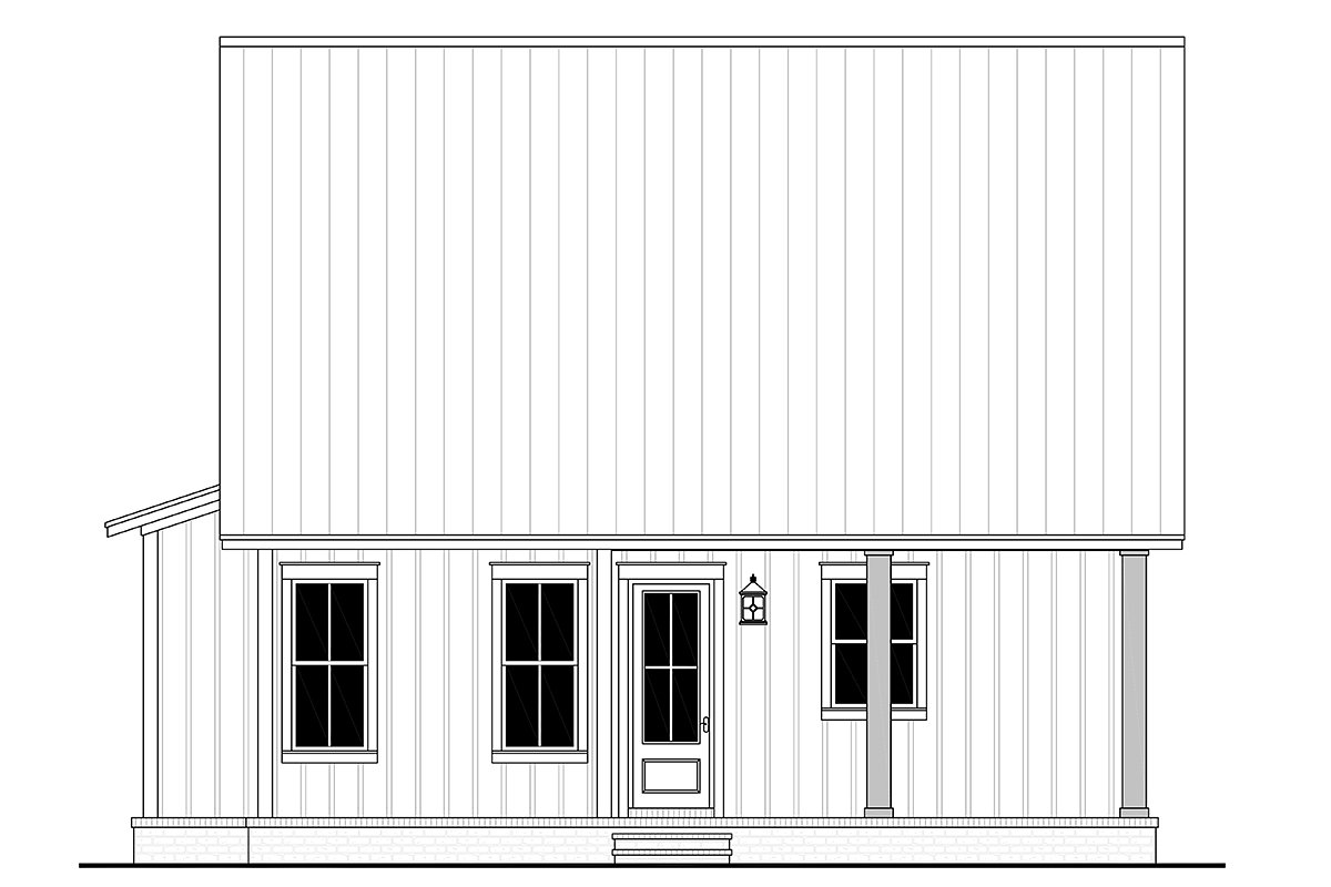 Cottage, Country, Farmhouse House Plan 56721 with 2 Beds, 2 Baths Rear Elevation