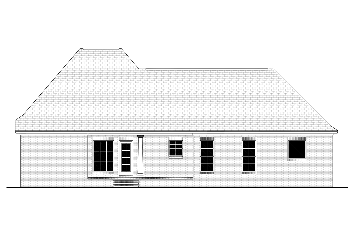 Acadian Colonial French Country Southern Rear Elevation of Plan 56900
