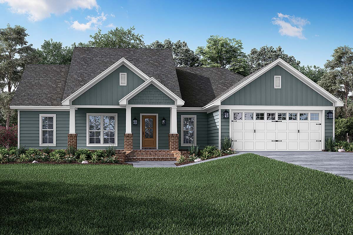 Cottage, Country, Craftsman, Traditional House Plan 56902 with 3 Beds, 2 Baths, 2 Car Garage Picture 1