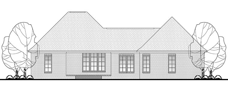 Country, Craftsman, Traditional House Plan 56903 with 3 Beds, 2 Baths, 2 Car Garage Rear Elevation