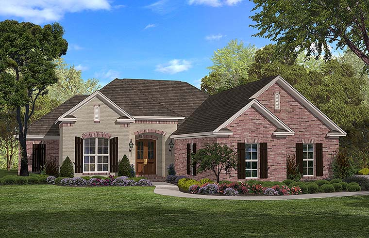 Country, French Country House Plan 56904 with 3 Beds, 3 Baths, 2 Car Garage Elevation