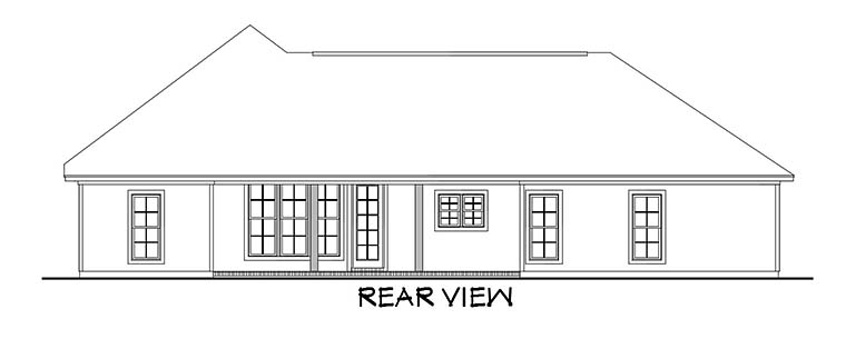 Country Craftsman Southern Traditional House Plan 56905 Rear Elevation