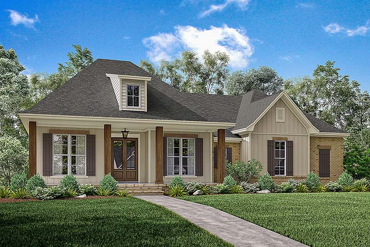 Southern Style House Plan 56908 with 3 Bed, 2 Bath, 2 Car Garage on raised acadian home plans, acadian style cabin plans, raised creole cottage plans, cottage house plans, acadian exterior home colors, simple acadian house plans, acadian style house plans, acadian homes on slabs,