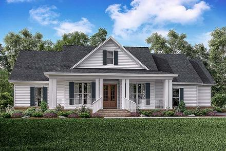 Country, Ranch, Southern, Traditional House Plan 56909 with 3 Beds, 3 Baths, 2 Car Garage