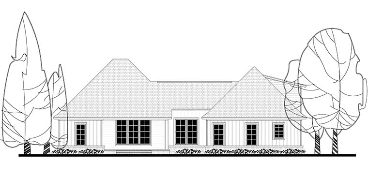 Country Craftsman Southern Traditional House Plan 56911 Rear Elevation