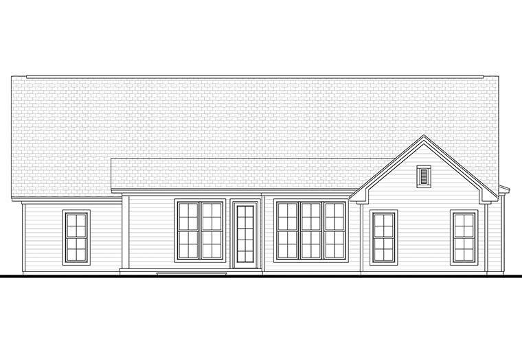 Cottage Country Ranch Traditional House Plan 56913 Rear Elevation