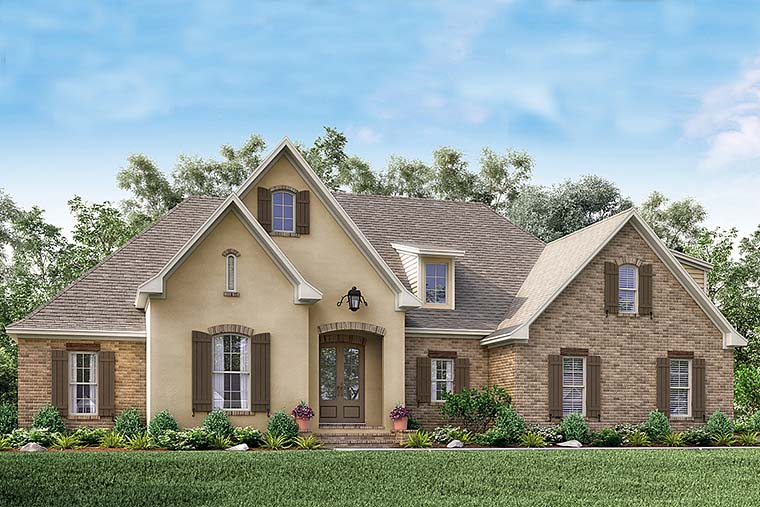 Country, French Country House Plan 56915 with 4 Beds, 2 Baths, 2 Car Garage Elevation
