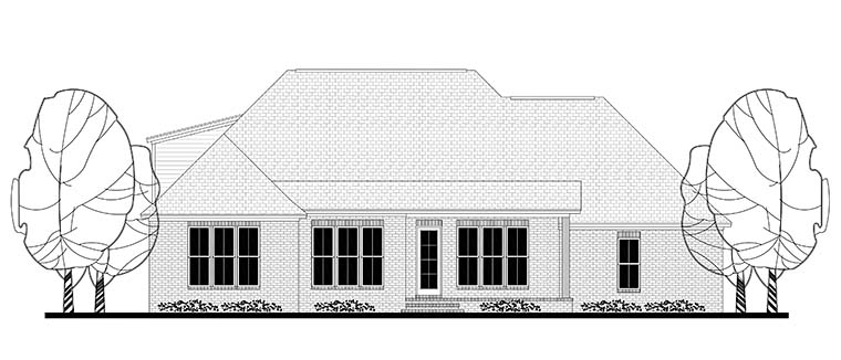 Country Craftsman Traditional House Plan 56917 Rear Elevation