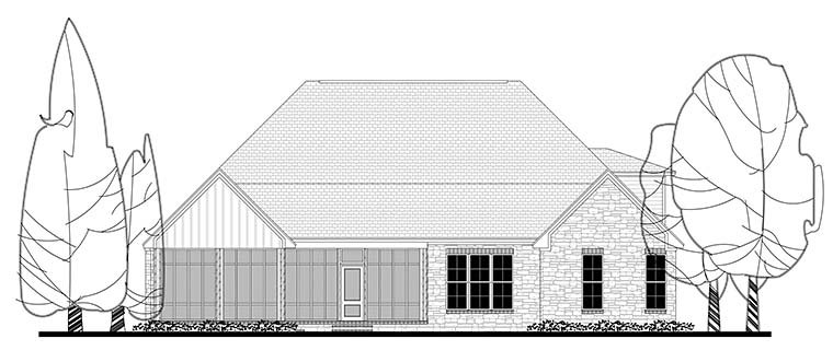 Country Craftsman Traditional House Plan 56922 Rear Elevation