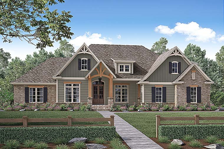 Country Craftsman Traditional Elevation of Plan 56924