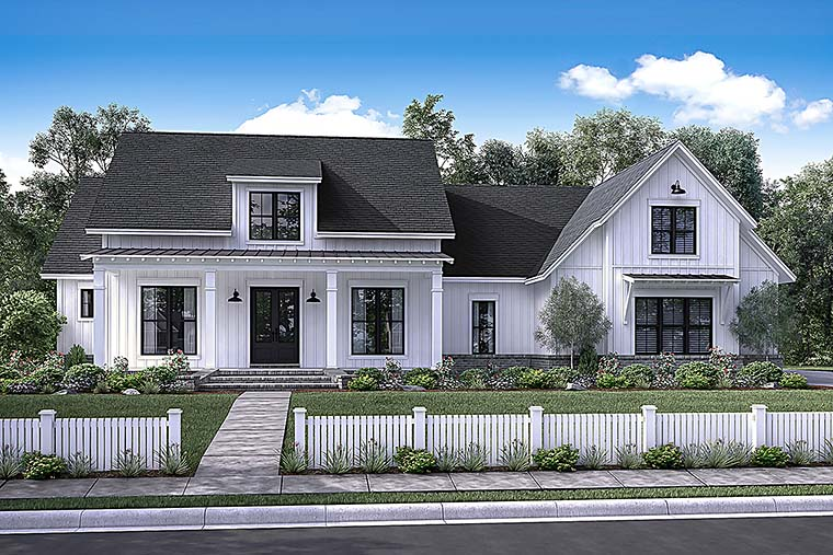 Country Farmhouse Southern Elevation of Plan 56925