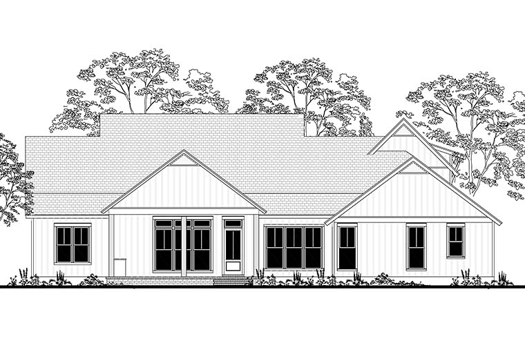 Cottage Country Farmhouse Southern House Plan 56926 Rear Elevation
