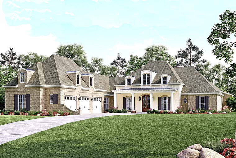 European, French Country, Southern House Plan 56929 with 4 Beds, 5 Baths, 3 Car Garage Elevation