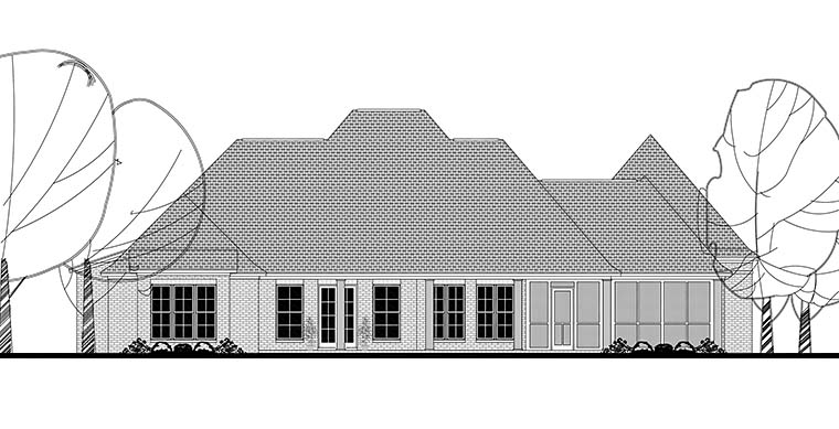 European, French Country, Southern House Plan 56929 with 4 Beds, 5 Baths, 3 Car Garage Rear Elevation