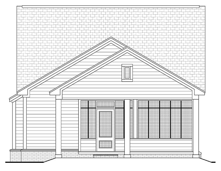 Cottage Country Southern Traditional House Plan 56937 Rear Elevation