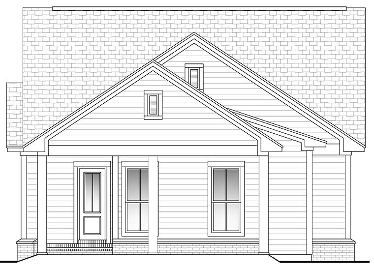 Country Craftsman Traditional House Plan 56940 Rear Elevation
