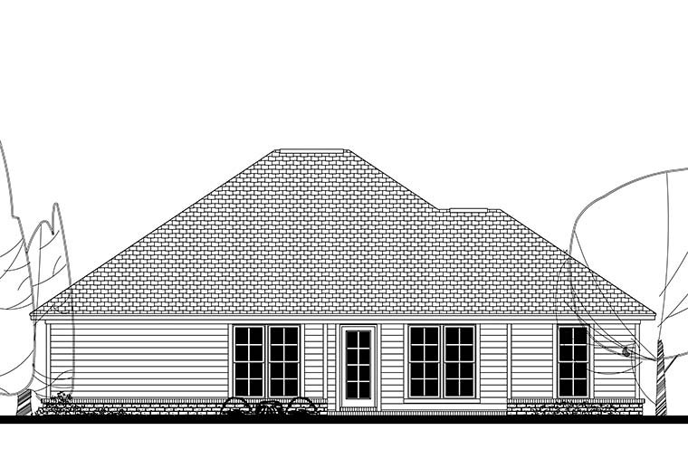 Cottage Traditional House Plan 56941 Rear Elevation