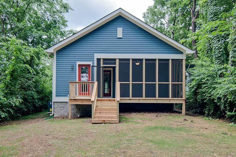Country, Craftsman, Traditional House Plan 56942 with 3 Beds, 2 Baths, 2 Car Garage Rear Elevation