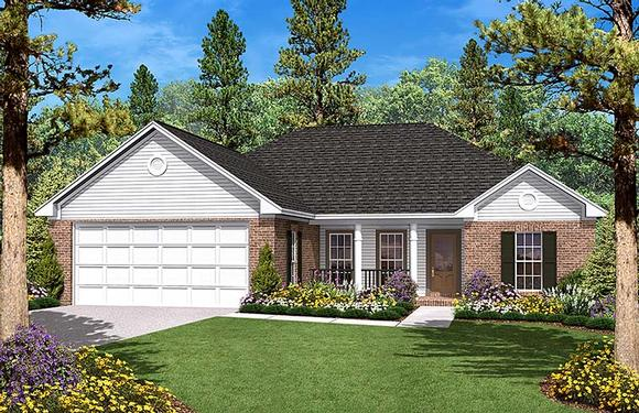 Country, Ranch, Traditional House Plan 56943 with 3 Beds, 2 Baths, 2 Car Garage Elevation