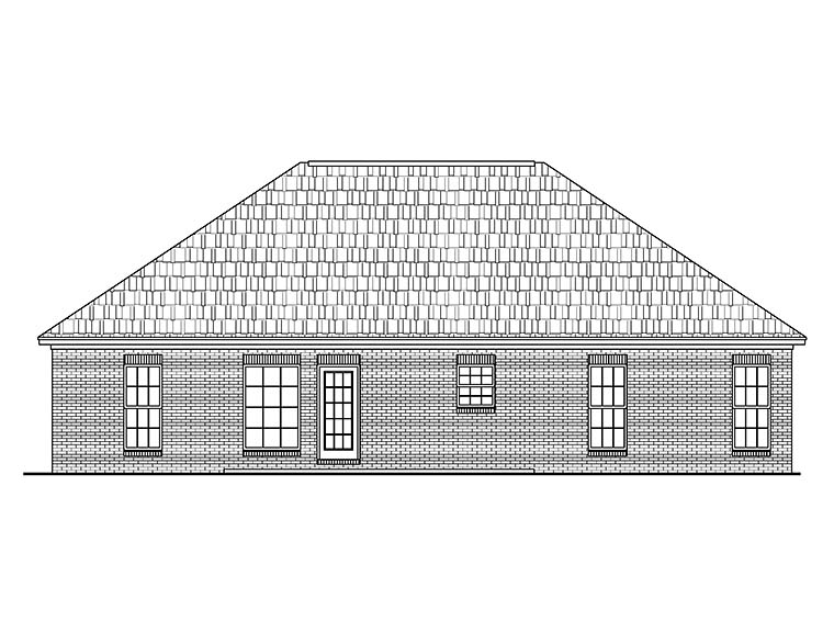 Country, Ranch, Traditional House Plan 56943 with 3 Beds, 2 Baths, 2 Car Garage Rear Elevation