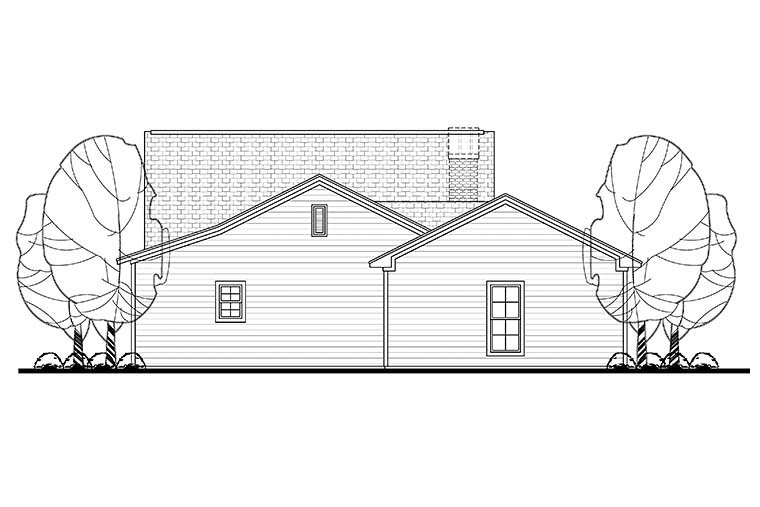 Cottage Country Ranch Traditional House Plan 56949 Rear Elevation