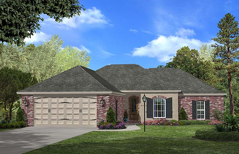 Country, European, French Country House Plan 56957 with 3 Beds, 2 Baths, 2 Car Garage Elevation